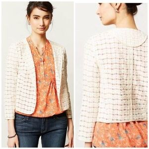 Ivory Anthropologie Lace Open Blazer Style Jacket